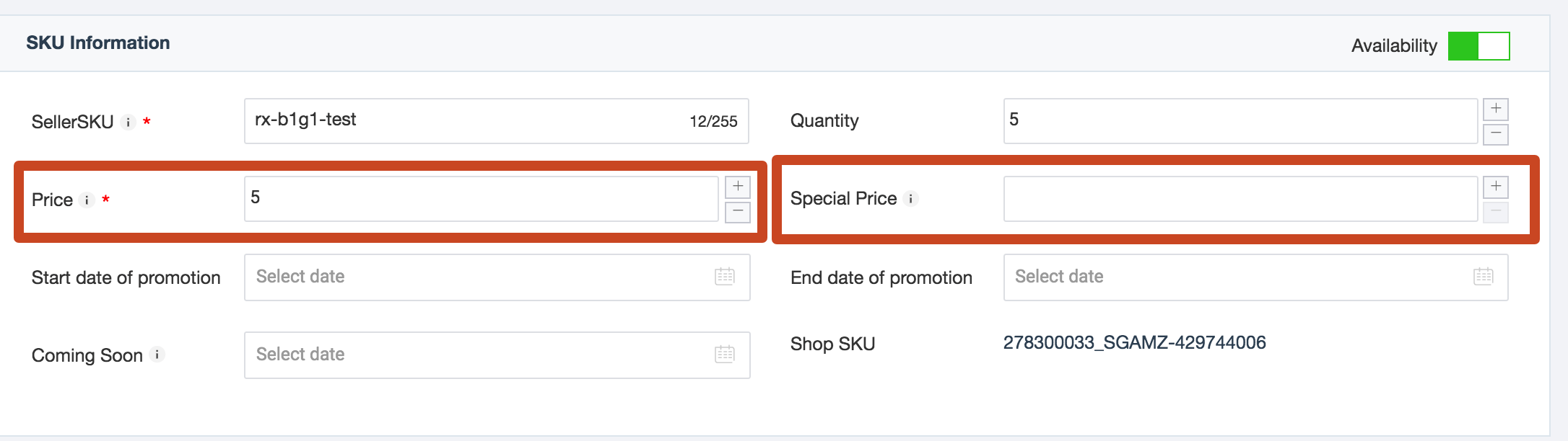 Price and Sales Price in Lazada Seller Center