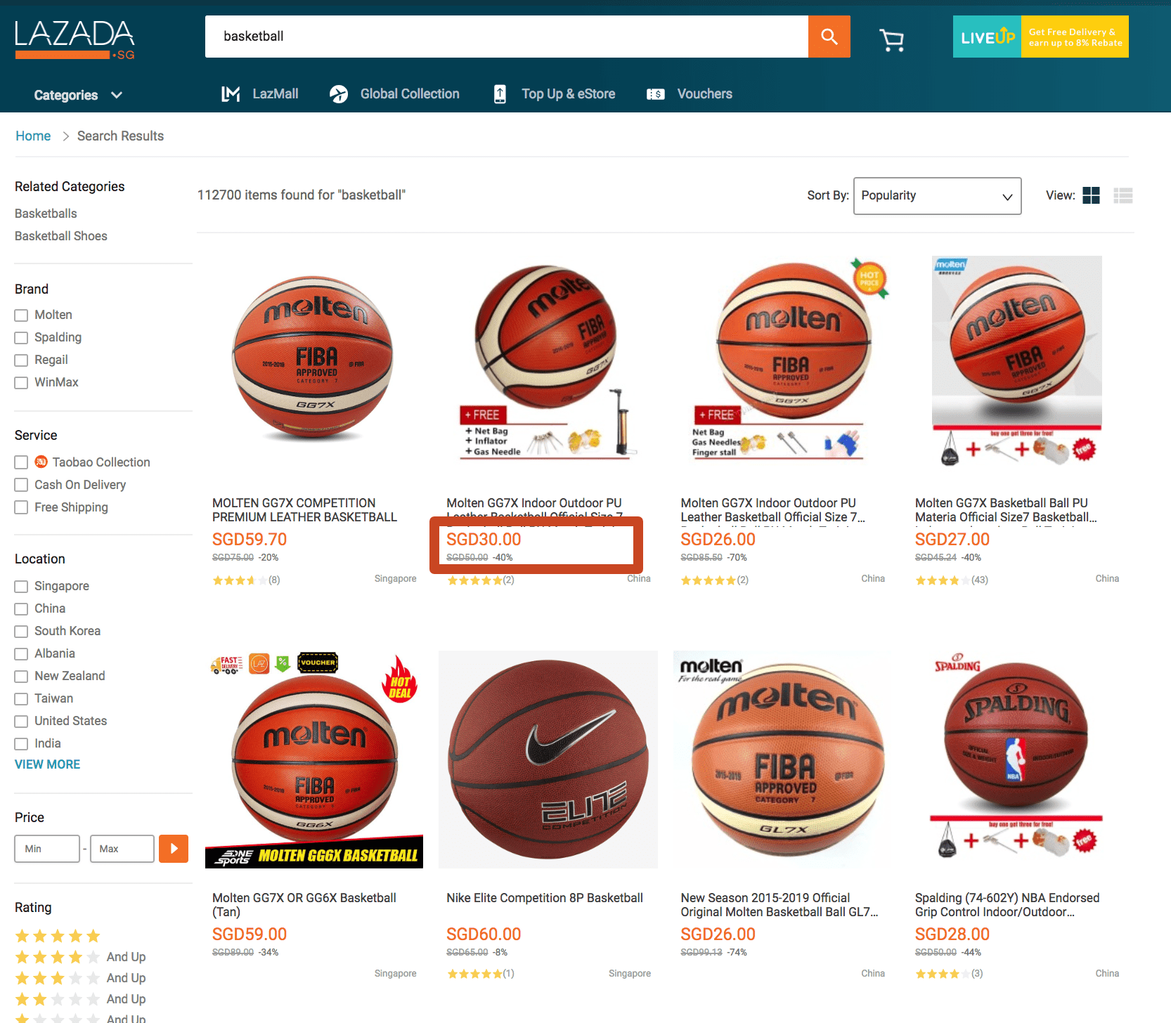 Product Price and Product Sales Price in Lazada Search Results / Category View