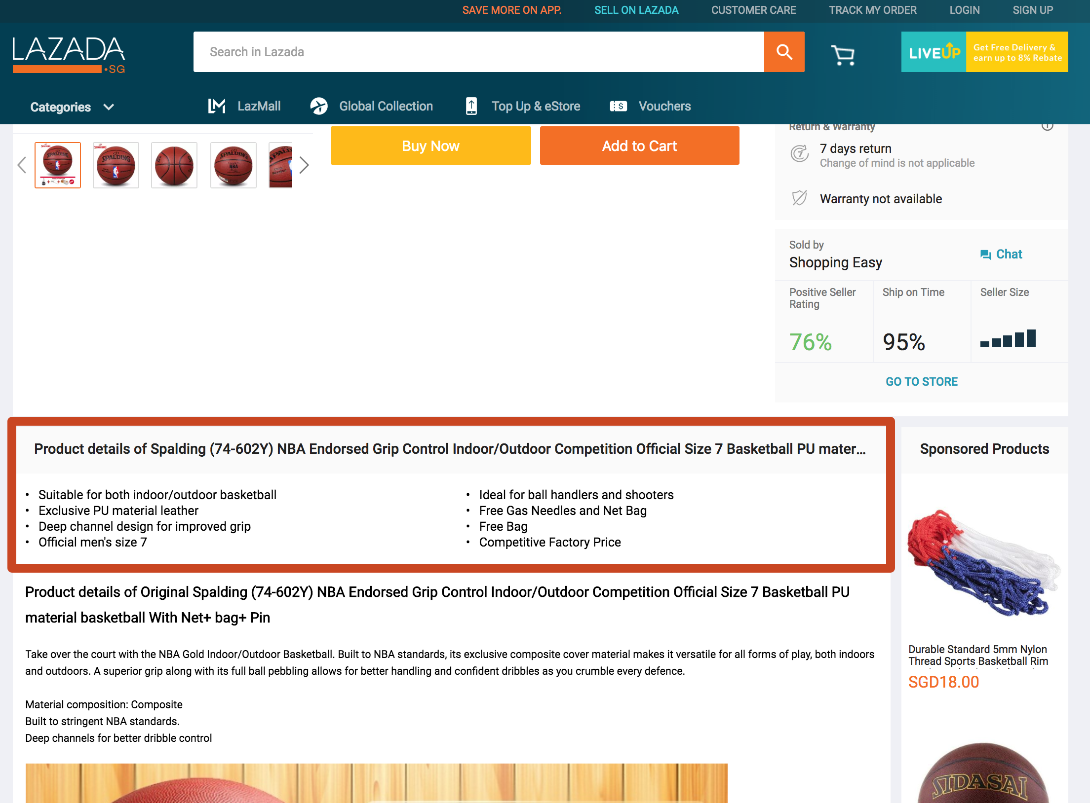 Product Short Description in Lazada Product Detail Page