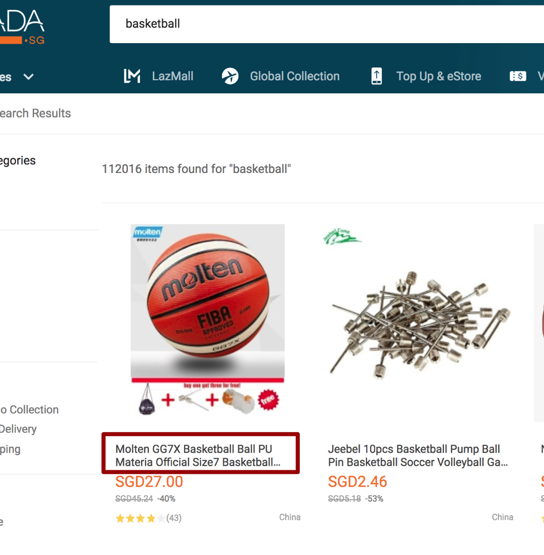 Lazada Product Title in Search Results View
