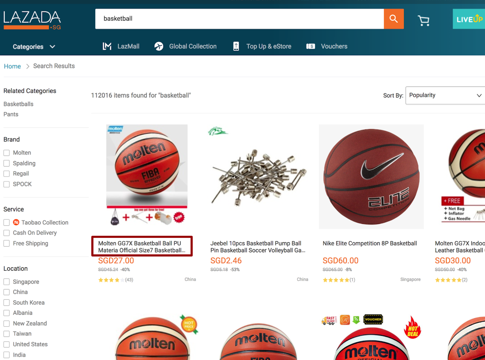 Product Title in Lazada Search Results