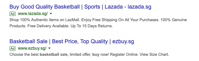 example search ad lazada seller adwords